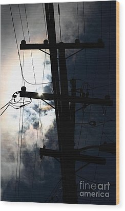 Telephone And Electric Wires And Pole In Silhouette . 7d13615 Wood Print by Wingsdomain Art and Photography