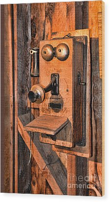 Telephone - Antique Hand Cranked Phone Wood Print by Paul Ward