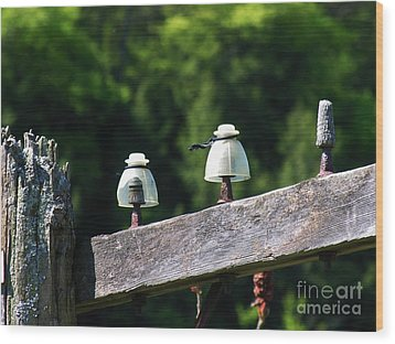 Wood Print featuring the photograph Telephone Pole And Insulators by Sherman Perry