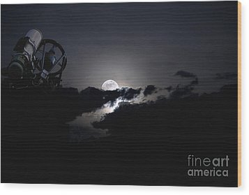 Telescope Pointed Out To The Night Sky Wood Print by Roth Ritter