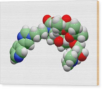 Telithromycin Antibiotic Molecule Wood Print by Dr Tim Evans