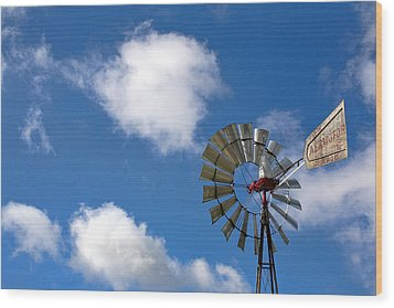 Temecula Wine Country Windmill Wood Print by Peter Tellone