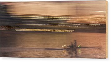 Tempe Town Lake Rowers Abstract Wood Print by Dave Dilli