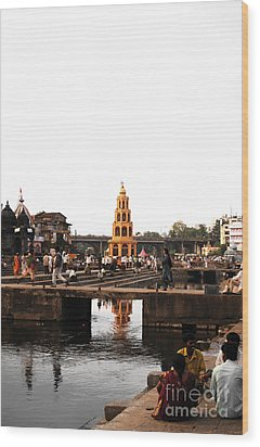 temple and the river in India Wood Print by Sumit Mehndiratta