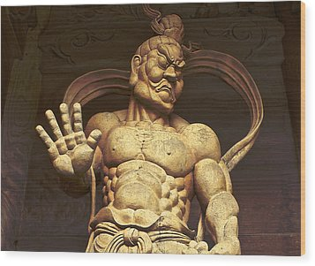 Wood Print featuring the photograph Temple Guardian 2 by Tim Ernst