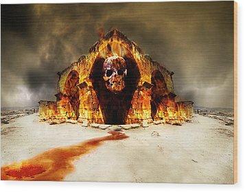 Temple Of Death Wood Print by Jaroslaw Grudzinski