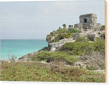 Wood Print featuring the photograph Temple Of The Wind God Tulum Mexico by John  Mitchell