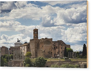 Temple Of Venus And Roma Wood Print by Fabrizio Troiani