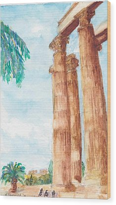 Temple Of Zeus In Athens Greece Wood Print by Katherine Shemeld