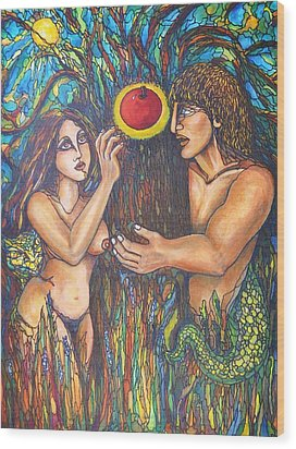 Temptation Of Adam And Eve  Wood Print by Rae Chichilnitsky