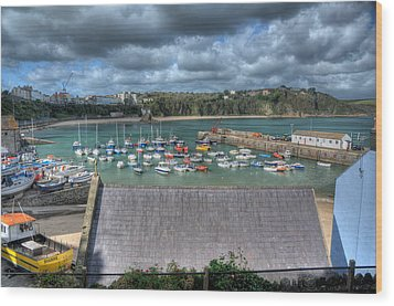Wood Print featuring the photograph Tenby Harbour Pembrokeshire 1 by Steve Purnell