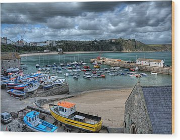 Wood Print featuring the photograph Tenby Harbour Pembrokeshire 2 by Steve Purnell