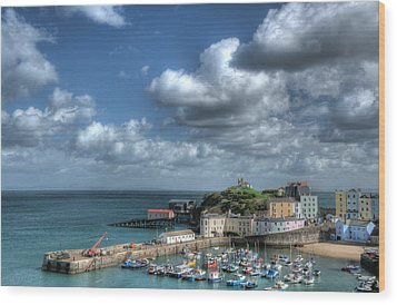 Wood Print featuring the photograph Tenby Harbour Pembrokeshire 3 by Steve Purnell