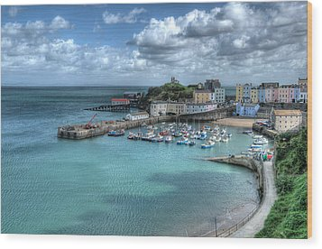 Wood Print featuring the photograph Tenby Harbour Pembrokeshire 4 by Steve Purnell