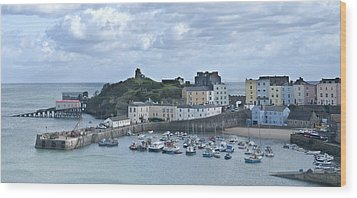Wood Print featuring the photograph Tenby Harbour Pembrokeshire Panorama by Steve Purnell