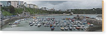 Wood Print featuring the photograph Tenby Panorama by Steve Purnell