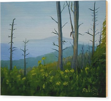 Tennessee Mts. Wood Print by Phebe Smith