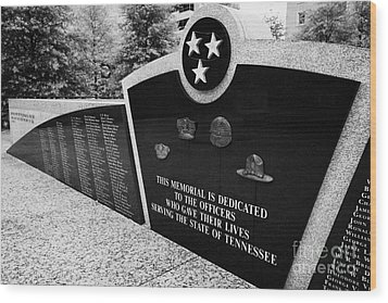 tennessee state police officer memorial war memorial plaza Nashville Tennessee USA Wood Print by Joe Fox