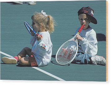 Tennis Tots At Wimbledon Wood Print by Carl Purcell