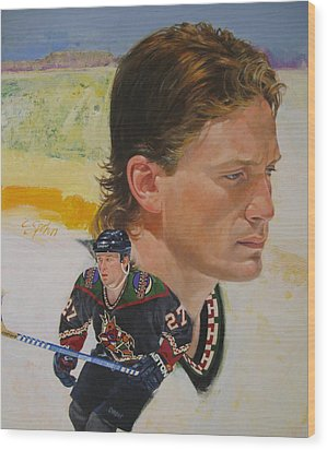 Wood Print featuring the painting Teppo Numminen by Cliff Spohn