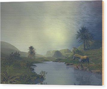 Wood Print featuring the painting Terra Pacis by Sipo Liimatainen
