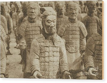 Terracotta Warriors China Pavilion Epcot Walt Disney World Prints Vintage Wood Print by Shawn O'Brien