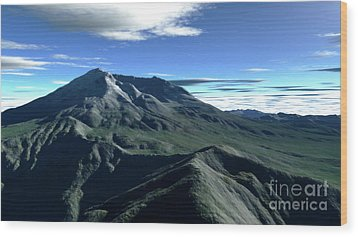 Terragen Render Of Mt. St. Helens Wood Print by Rhys Taylor