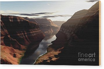 Terragen Render Of Trail Canyon Wood Print by Rhys Taylor
