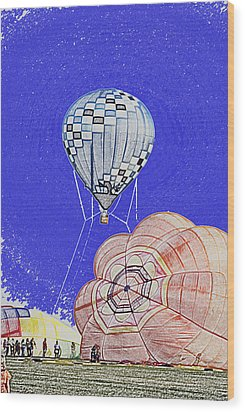 Tethered Hot Air Balloon Wood Print by Thomas Woolworth