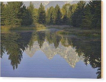 Teton Morning Reflections Wood Print