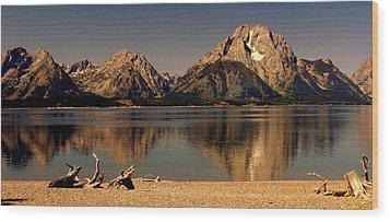 Teton Panoramic Wood Print by Marty Koch