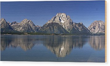 Teton Panoramic View Wood Print by Marty Koch