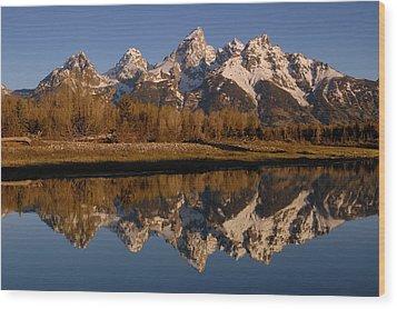 Teton Range, Grand Teton National Park Wood Print by Pete Oxford