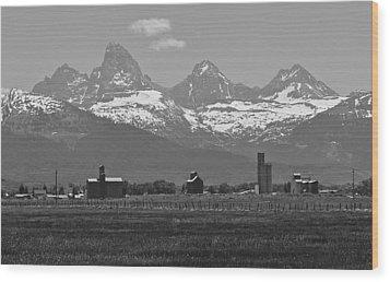 Wood Print featuring the photograph Tetonia Grain Elevators by Eric Tressler