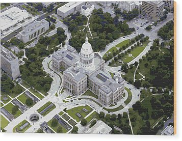 Texas Capitol Color 16 Wood Print