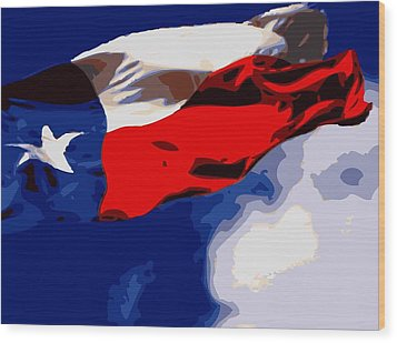 Texas Flag In The Wind Color 16 Wood Print by Scott Kelley
