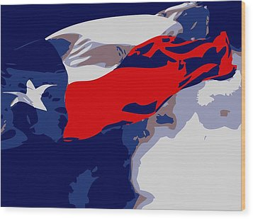 Texas Flag In The Wind Color 6 Wood Print by Scott Kelley