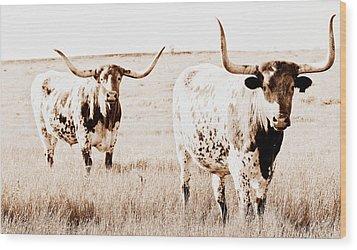 Texas Pair Wood Print by Elizabeth Hart