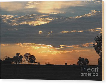 Wood Print featuring the photograph Texas Sized Sunset by Kathy  White