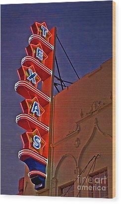Texas Theater Restored Wood Print by Gib Martinez