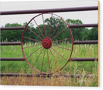 Wood Print featuring the photograph Texas Wildflowers Through Wagon Wheel by Kathy  White