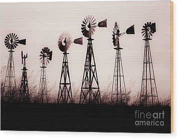 Texas Windmills Wood Print by Tamyra Ayles