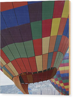 Texture Two Hot Air Balloons Wood Print by Kantilal Patel