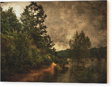 Textured Lake Wood Print