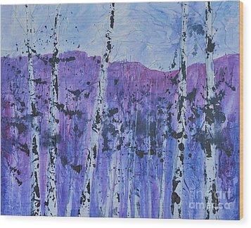 Textured Trees Wood Print
