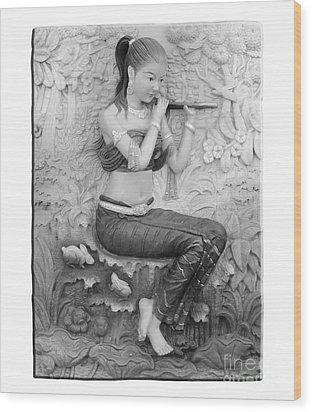 Thai Style Bas-relief Decorated On  Wall  Wood Print by Phalakon Jaisangat