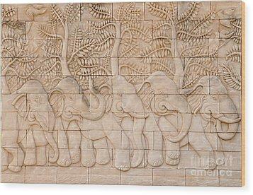 Thai Style Handcraft Of Elephant Wood Print by Phalakon Jaisangat