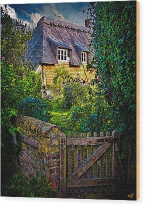 Thatched Roof Country Home Wood Print by Chris Lord
