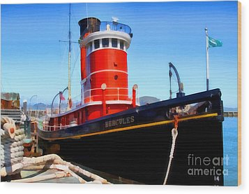 The 1907 Hercules Steam Tug Boat . 7d14141 Wood Print by Wingsdomain Art and Photography