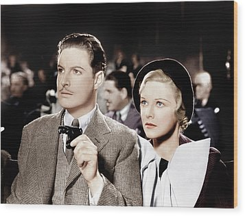 The 39 Steps, From Left Robert Donat Wood Print by Everett